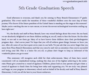 5th grade graduation speech