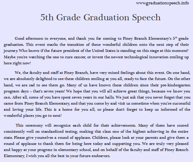 th grade graduation speech writing tips 5th grade graduation speech