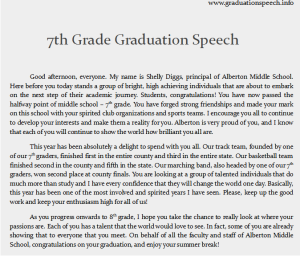 7th grade graduation speech