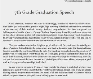 7th grade graduation speech